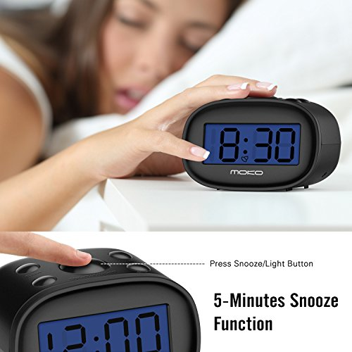 Digital Alarm Clock, MoKo High Accuracy Mini LCD Display Kids Clock Night Light Travel Bedside Alarm Clocks with Snooze Time Backlight Electronic Home Office Table Clock - BLACK