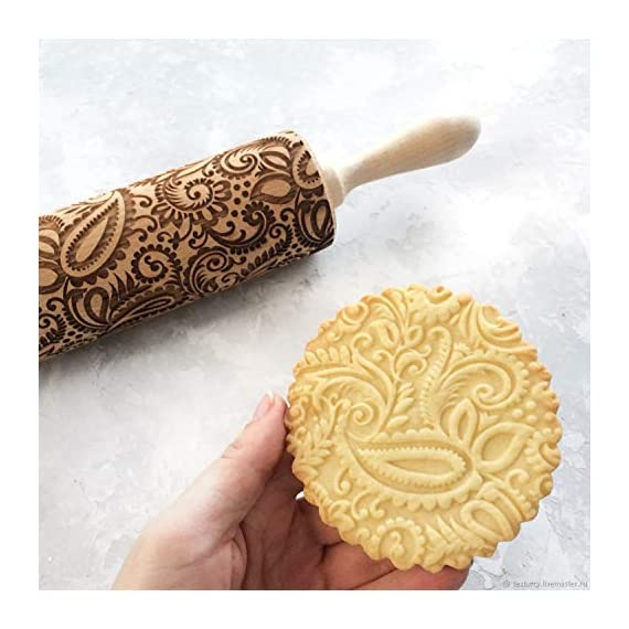 """Paisley Embossed Rolling Pin 16"""" Engraved Rolling Pin for Baking + Cute and Lightweight Wooden Rolling Pin for Kids and Adults to Make Cookie Dough – Attractive Professional Cookie Angel Food 8 START HAVING FUN IN THE KITCHEN WITH ALL YOUR FAMILY. Our textured rolling pin 16 Inch is very easy to use, so have some fun using this engraved rolling pin with your whole family. This embossed rolling pin can be used for fancy pastry decorations, cake decorations, shortbreads, basic biscuits, play dough, and even clay. This wood rolling pin can also be used as a kid's toy. EASY TO CLEAN:You only need to wash under running water and dry in the air,they will not take up too much space in the kitchen drawer ROLLING-PINS can be a really nice housewarming and pretty gift for your friends, kids and your kitchen."""