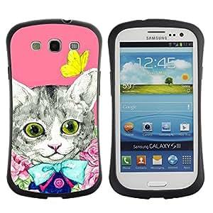 Suave TPU GEL Carcasa Funda Silicona Blando Estuche Caso de protección (para) Samsung Galaxy S3 I9300 / CECELL Phone case / / Kit Cat Kitten Pink Butterfly /