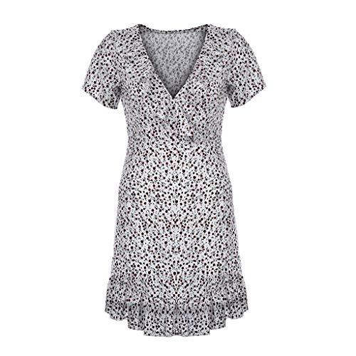 Sagton V Neck Dresses for Women Summer Floral Ruffled V-Neck Dress Retro Dress (White,XL)