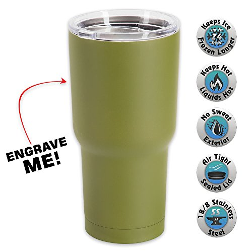 - K EXCLUSIVE Large Double Walled Matte Olive Drab Insulated Tumbler- 30 Oz
