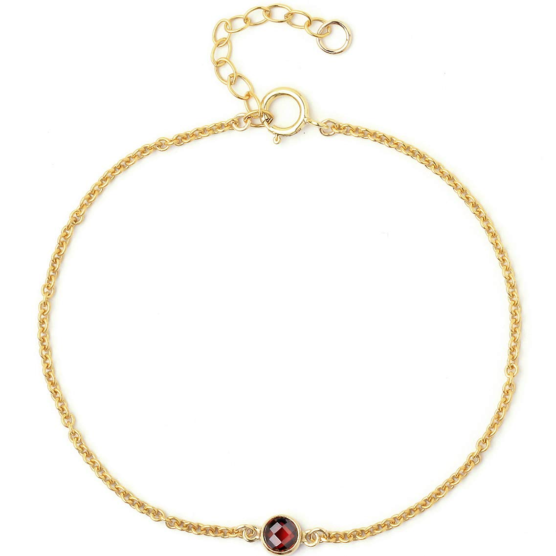 BENIQUE Dainty Bracelet For Women Girls - 14K Gold Filled Fine Chain, Simulated Freshwater Pearls, AAA CZ, Layering Essentials, Gifts for her, Made in USA, 6.5''+1'' (Garnet/GOLD)