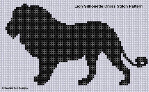 Lion Silhouette Cross Stitch Pattern
