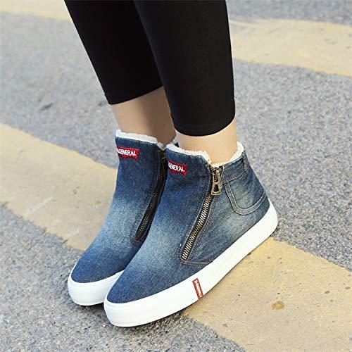 scarpe di scarpe cotone tubo l'inverno piatto 35 ma doppia dingxue breve velluto blue 38 cerniera donna fondo da addensato KOKQSX blue jeans CwOqx5qI