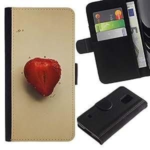 NEECELL GIFT forCITY // Billetera de cuero Caso Cubierta de protección Carcasa / Leather Wallet Case for Samsung Galaxy S5 V SM-G900 // Juicu fresa
