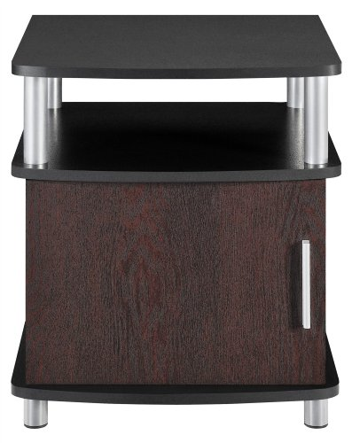 - Ameriwood Home Carson End Table with Storage, Cherry/Black