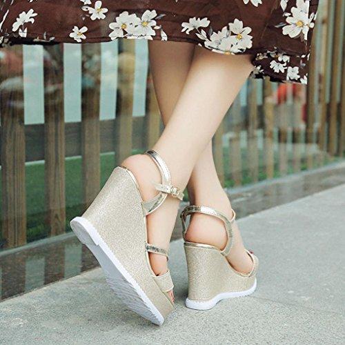 Mode Plateforme de Compensées Peep Xinxinyu Ete ❤️ Femme Femmes Sandales Chaussures la Sandales Boucle à Sangle Or Toe Cheville wqWw7FBnIz