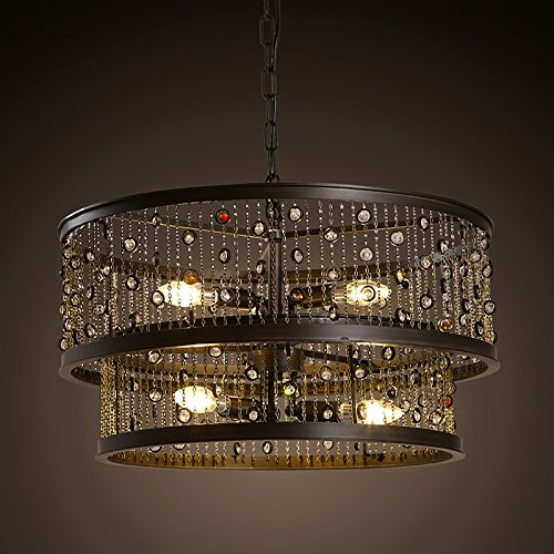 BBSLT E14 país gema cristalina doble lámpara forja redondo ...