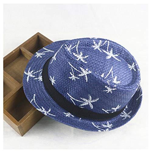 Summer 100% Parent-Child Straw Hats for Adult & Kids Children Panama Hat Coconut Tree Jazz Caps Casual Beach Visor Sun Hat,NV,Adult -
