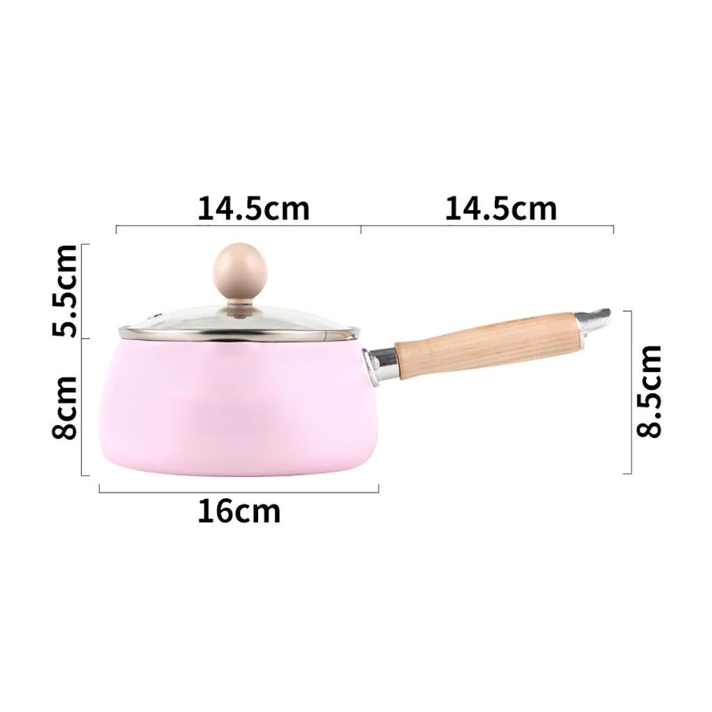 MEISI Small Milk Non-Stick Pan With Non-Stick Coating Mini Baby Food Pot General Instant Noodle Pot 16X8CM , pink