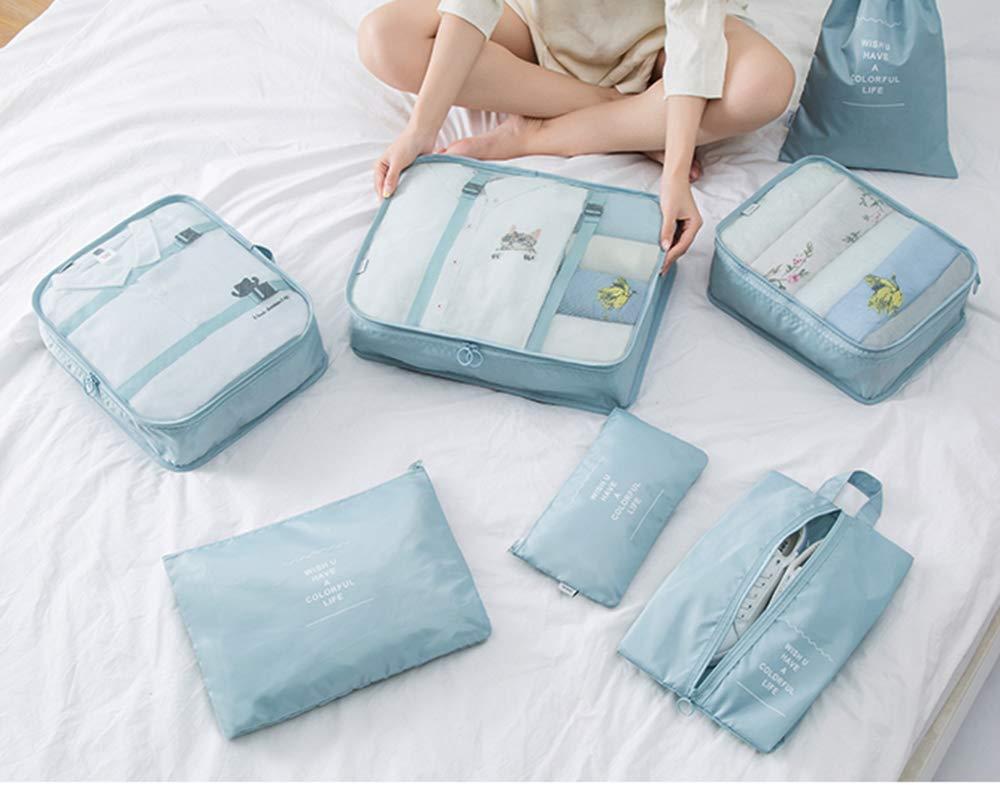 Amazon.com: 8 cubos de equipaje de viaje, impermeables ...