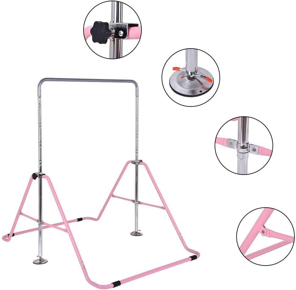 DOYCE Gymnastics Bars Expandable Junior Training Bar Folding Horizontal Bars for Kids Pink