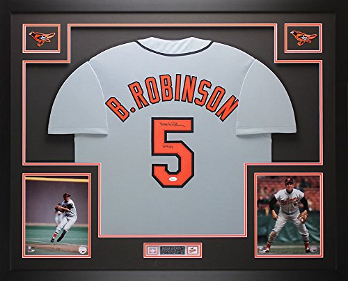 Brooks Robinson Autographed Gray Orioles Jersey - Beautifully Matted and Framed - Hand Signed By Brooks Robinson and Certified Authentic by Auto JSA COA - Includes Certificate of Authenticity