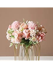 SHINE-CO LIGHTING Artificial Tiny Peony with Chrysanthemum Silk Hydrangea Carnations Bouquets Faux Flower Arrangement for Home Office Wedding Decoration 2 Bunches (Pink)