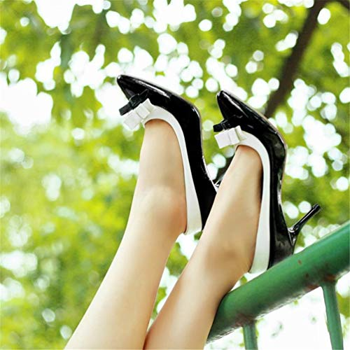 Femme Souligné Slip Parti A Mince Fashion High Toe Chaussures Dame Femmes on Pompes Aiguilles Heels Bowtie De Talons Noir YwPnqqfA6z
