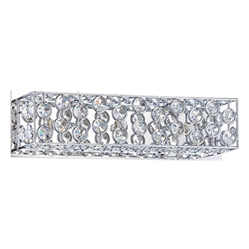 Kendal Lighting VF6600-3L-CH Palazzo 3-Light Vanity Fixture, Chrome Finish and Optic Crystal (3l Bath Sconce)