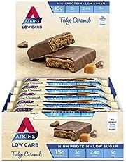 Atkins Fudge Caramel Bars   Keto Friendly Bars   15 x 60g Low Carb Caramel Chocolate Bars   Low Carb, Low Sugar, High Protein, High Fibre   15 Bar Pack