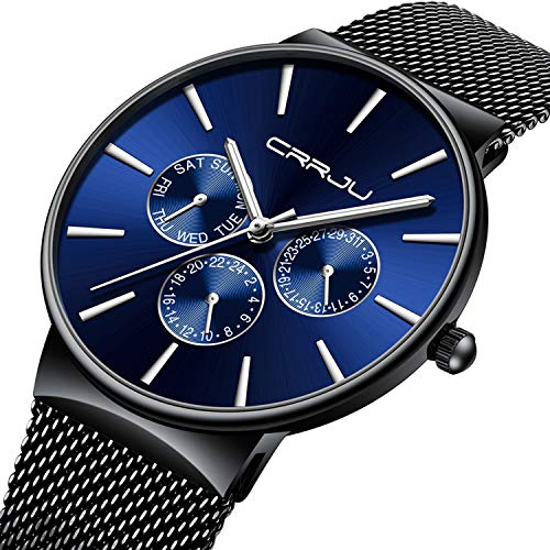 Mens Watches Ultra Slim Quartz Luxury Sub Dial Analogue Quartz Watch Men Waterproof Stainless Steel Mesh Belt Strap Classic Design Casual Dress Watch - ()