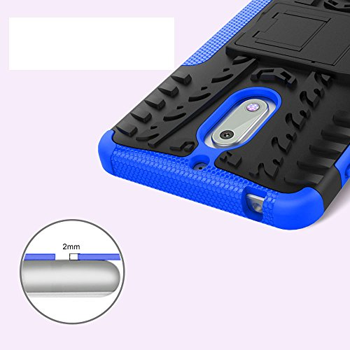 Nokia 6 Case, Skmy Shockproof Impact Protection Tough Rugged Dual Layer Protective Case Cover with Kickstand for Nokia 6 (Blue) by Skmy (Image #4)