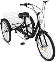 Flousher Adult Tricycle 1 Speed 7 Speed Size Cruise Bike 20 Inch Adjustable Trike with Bell, Brake System Crui