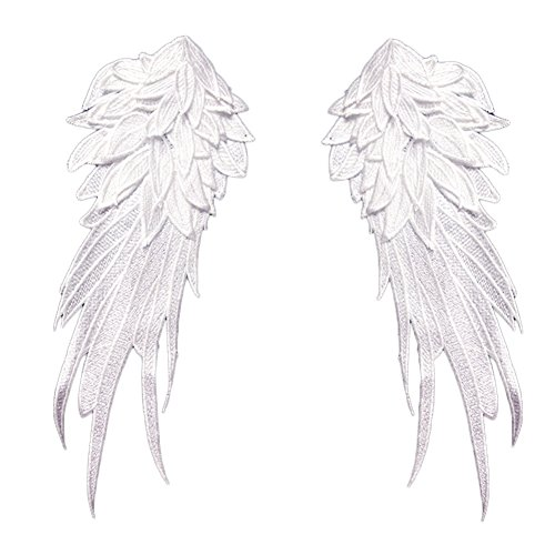 Zeroyoyo 1Pair Exquisite Luxury Embroidery Polyester Yarn Water Soluble Black White Angel Wings DIY Handmade Applique Motif Patch
