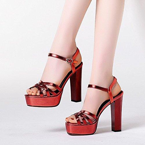 Nbwe Kvinder Simple Læder Sandaler Fire Sæsoner Sko Firkantet Toppe Hule Hæle Rødt hIVq9Q5Geh