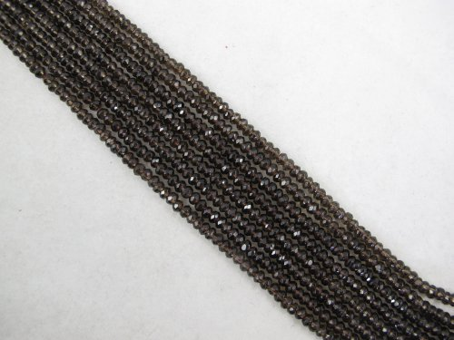 Smoky Quartz Faceted Rondelle Beads - 9