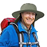 Catalonia Men's Sun Protection Hat with Neck Flap Cover,Wide Brim Outdoor Fishing Hiking Camping Hunting Boating Safari Gardening Working Hat