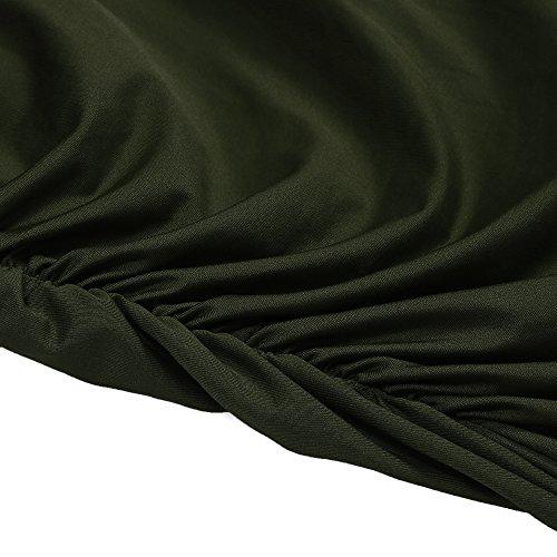 Beyove Été Cou V Femmes Robes De Cocktail Sans Manches Froncées Bodycon Partie Robes Crayon Vert De L'armée