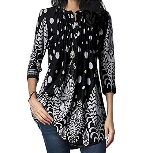 - GOVOW Womens 3/4 Sleeve Roundneck Floral Tunic Tops Loose Blouse Button up Shirts (L, Black-A)
