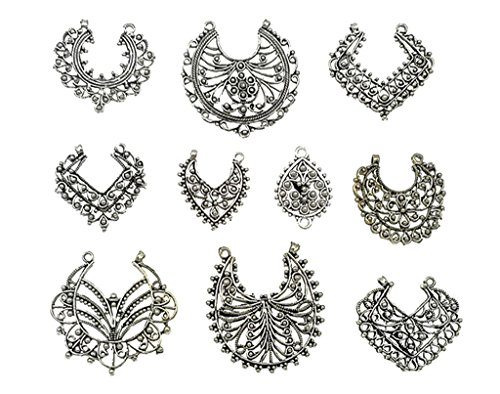 Kinteshun Assorted Filigree Dangling Charm Pendant Connector for DIY Jewelry Making Accessaries(10pcs,Antique Silver Tone)