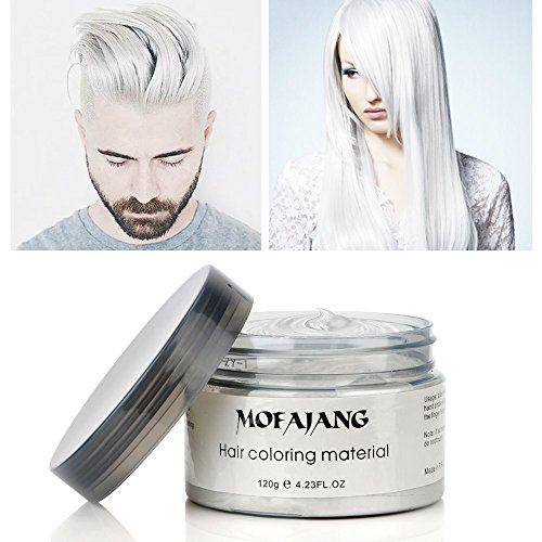 Mofajang Hair Color Wax,INST Temporary Hair Dye,Hair Coloring Wax,Washable Temporary, Natural Hairstyle Color Wax for Party,Halloween,Cosplay(White)]()