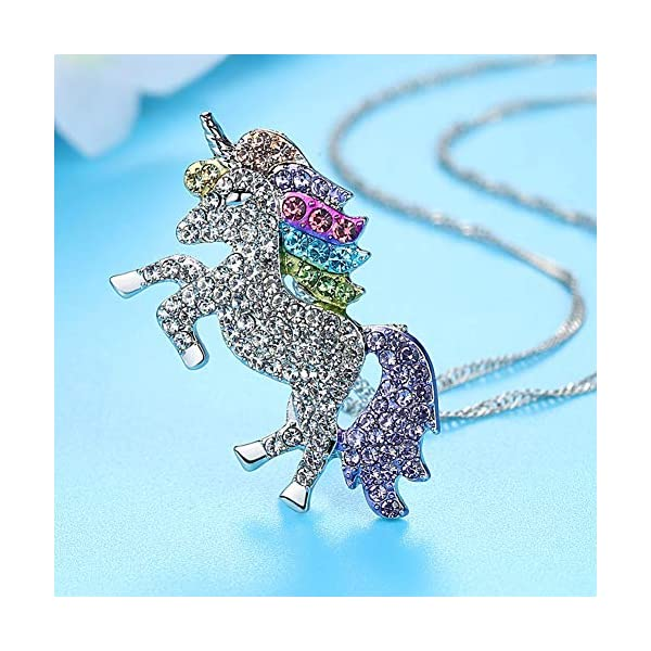 4MEMORYS Rainbow Unicorn Jewelry Set Including Pendant Necklace, Bracelet Rhinestone Crystal Rhodium Plated Women Girls… 6