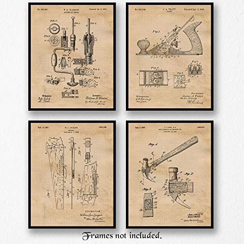 Original Woodworking Tools Patent Art Poster Prints - set of 4 (Four 8x10) Unframed Pictures - Great Wall Art Decor Gifts for carpenters, office, garage, man cave. from Stars Arts