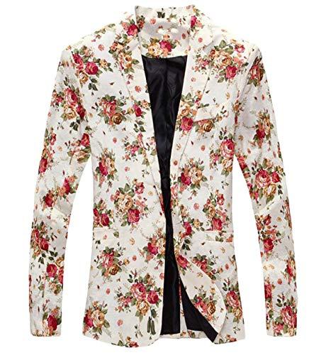 Longues À Slim Fit Casua Élégant Manteau De Blanc Vintage Print Manches Costume Mariage Veste Blazer Hommes Moderne Floral Cocktail nYzawq66x8