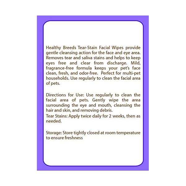 Healthy Breeds Dog Tear Stain & Facial Wipes - Over 200 Breeds - Fragrance Free - 70 Wipes 3