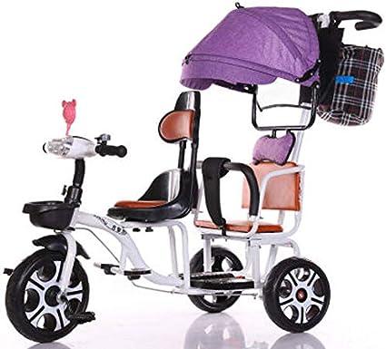 JHGK Triciclo Biplaza, Bicicleta Triciclo De Empuje A Dos Manos De Acero con Alto Contenido De Carbono Biplaza con Dosel Único Púrpura/Valla Simple/Luz, Tricycle para Niños,Blanco