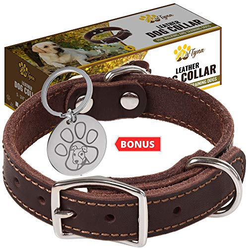 Leather Dog Collar for Puppy, Small, Medium and Large Dogs - Heavy Duty Wide Dog Collars with Durable Metal Hardware & Double D-Ring - Unique Name Tag Included (S: ¾