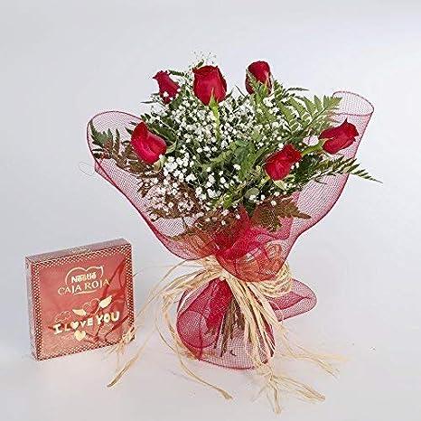 Ramo De 6 Rosas Rojas Naturales Y Bombones Flores Frescas Entrega En