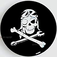 "SPARE TIRE COVER UNIVERSAL 24.5""-26"" w/Mechanic Pirate Skull"