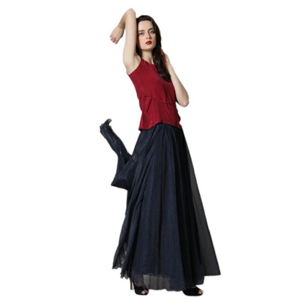 GOTD Women Elastic Waist Chiffon Maxi Skirt Beach Half Long Dress One Fit Size (Black)