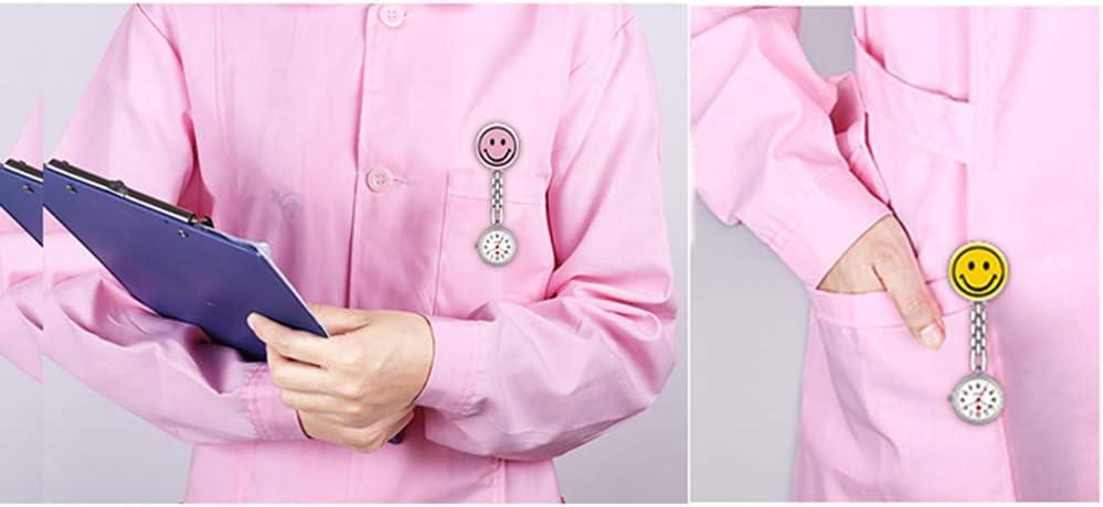 Quskto Coupé sur la Poche/stéthoscope 1x Cute Smile Face Nurse Fob Pendentif Broche Montre De Poche for Femmes Et Hommes (Couleur : Rose) Jaune