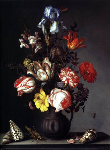 Balthasar Van der Ast Flowers in a Vase with Shells and Insects - 18.1