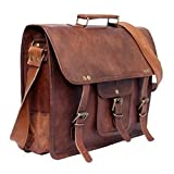 Handcrafted exports 15'' Laptop Vintage Leather Messenger Briefcase Satchel SALE