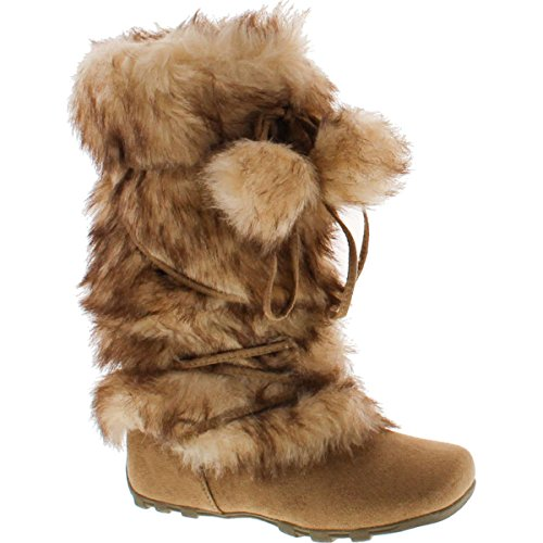 Flat Boots Camel Womens (De Blossom Collection CE37 Women's Lace Up Mid-Calf Pom-Poms Flat Boots, Color:Camel, Size:10)