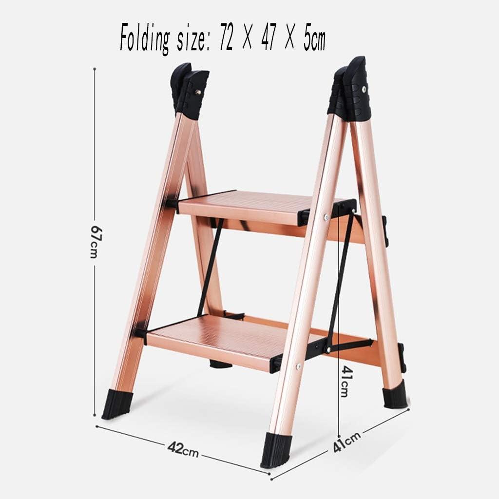 XEWNEG Hogar Multifuncional Escalera Pequeña Aluminio Grueso Escalera Taburete Plegable Flor De Soporte Portátil De Dos Capas En Rack De 2 Almacenamiento Color (Color : B): Amazon.es: Hogar