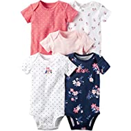 Baby Girls' 5 Pack Bodysuits, Owl Love, 18 Months
