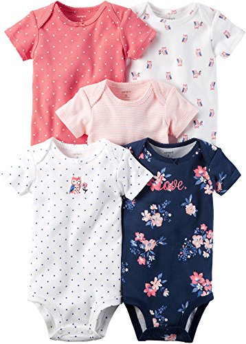 Carter's Baby Girls' 5 Pack Bodysuits, Owl Love, 12 Months ()