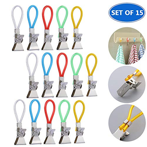HOMEJU Tea Towel Hanging Clips Metal Clip on Hooks Loops Hand Towel Hanging Clips for Kitchen Bathroom Beach | Set of 15/20/25 ()