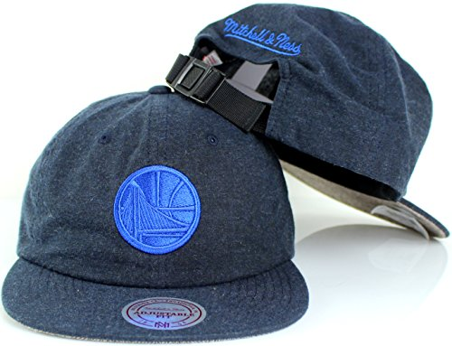 (Mitchell & Ness NBA Cotton Melange Clip Strapback Hat (Adjustable, Golden State Warriors))
